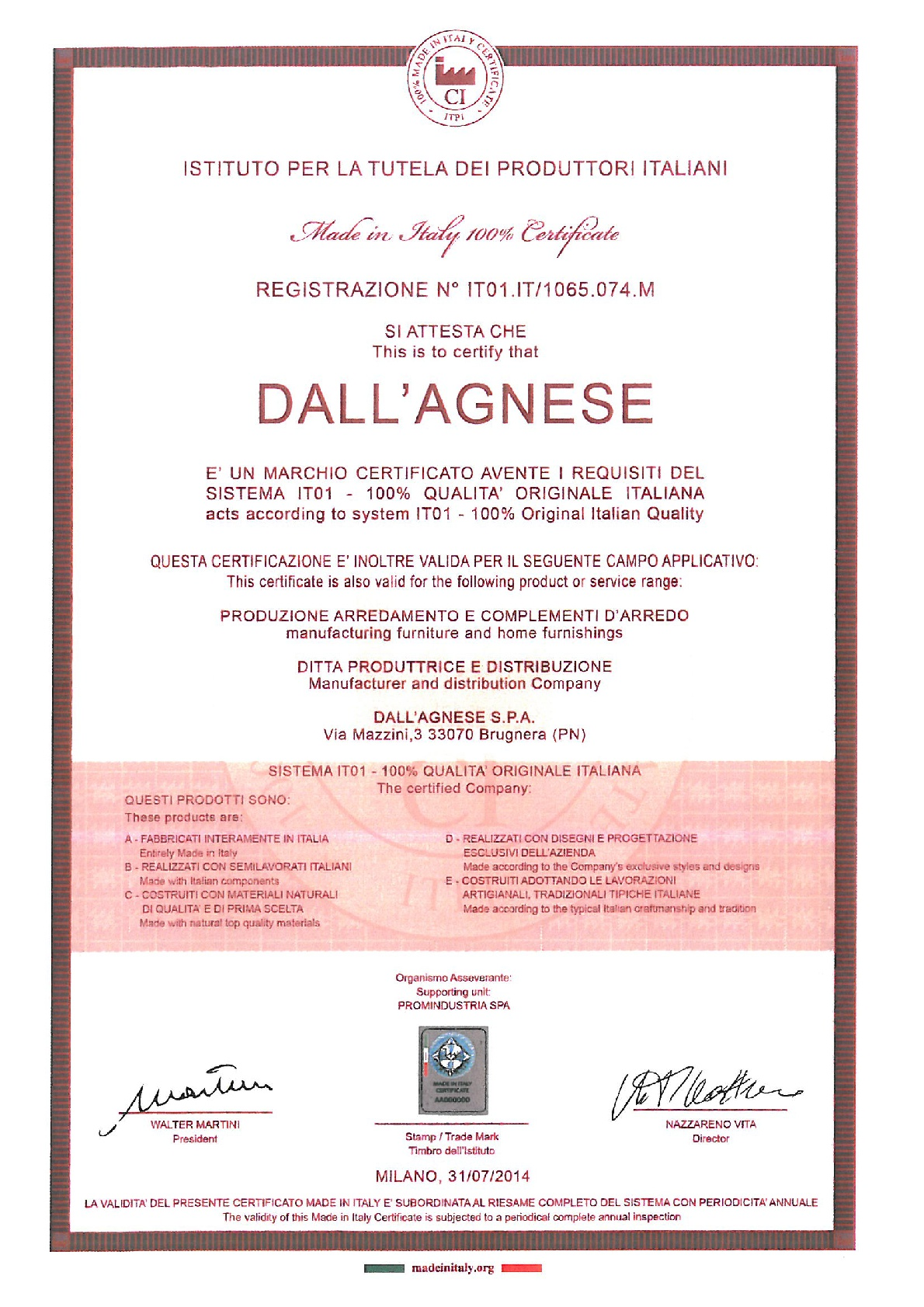 DALL'AGNESE CERTIFIE 100% QUALITÉ ITALIENNE