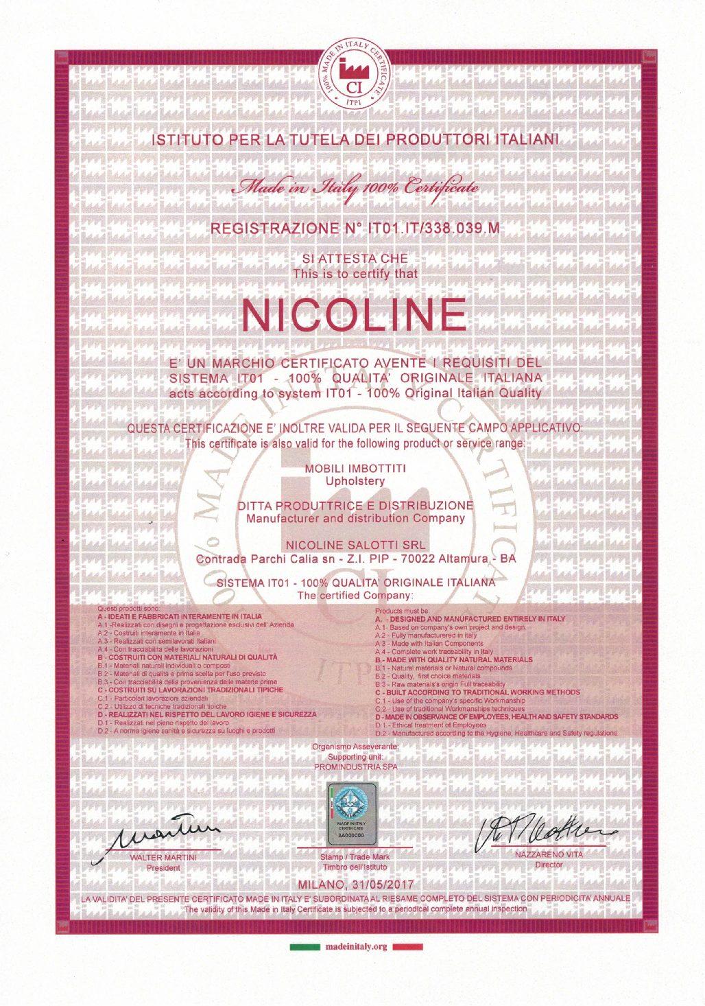 NICOLINE CERTIFIE 100% QUALITÉ ITALIENNE