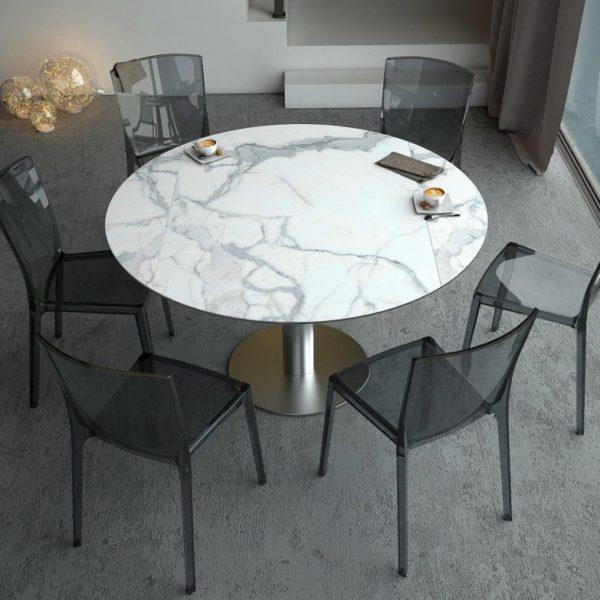 AMEUBLEMENT HYORIS TABLE DE REPAS LUNA D 135 CERAMIQUE MARBRE 2