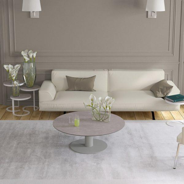 HYORIS TABLE BASSE LUNA CERAMIQUE ARGILE PIED LAQUE GRIS SILEX