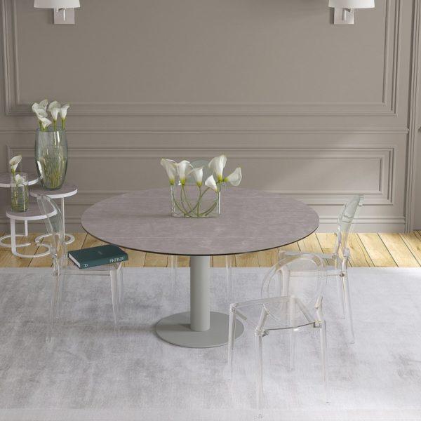 HYORIS TABLE DE REPAS LUNA CERAMIQUE ARGILE PIED LAQUE GRIS SILEX