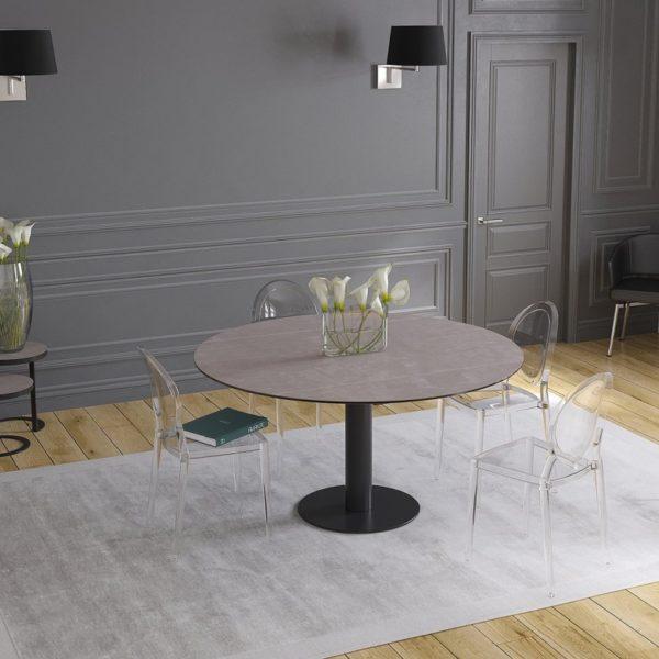 HYORIS TABLE DE REPAS LUNA CERAMIQUE ARGILE PIED LAQUE NOIR