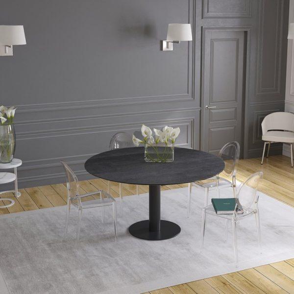 HYORIS TABLE DE REPAS LUNA CERAMIQUE TITANE PIED LAQUE NOIR