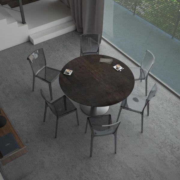 HYORIS TABLE DE REPAS LUNA D 135 CERAMIQUE ACIER 1