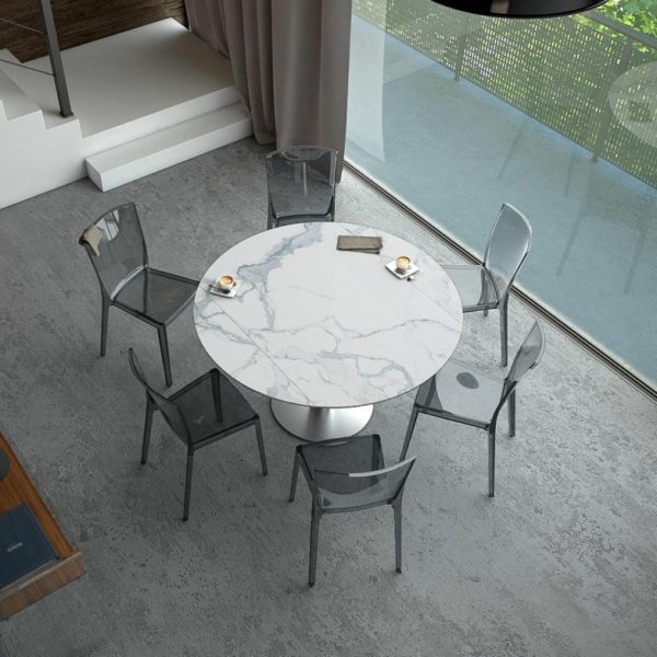 HYORIS TABLE DE REPAS LUNA D 135 CERAMIQUE MARBRE 1