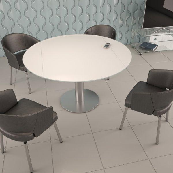 HYORIS TABLE DE REPAS LUNA D 135 VERRE LAQUE BLANC 1
