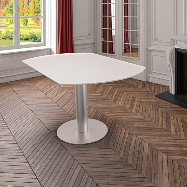 HYORIS TABLE DE REPAS LUNA D 135 VERRE LAQUE BLANC 2