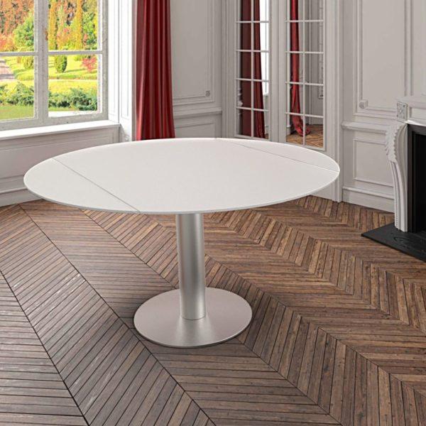 HYORIS TABLE DE REPAS LUNA D 135 VERRE LAQUE BLANC 3