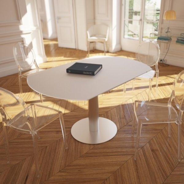 HYORIS TABLE DE REPAS LUNA D 135 VERRE LAQUE BLANC