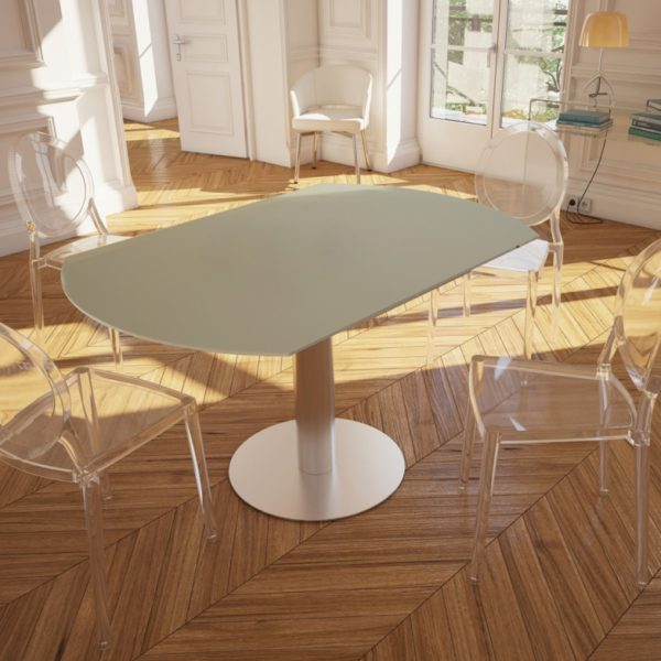 HYORIS TABLE DE REPAS LUNA D 135 VERRE LAQUE GRIS PERLE