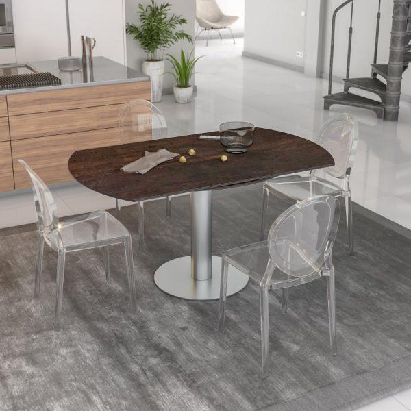 HYORIS TABLE DE REPAS LUNA D 150 CERAMIQUE ACIER 1